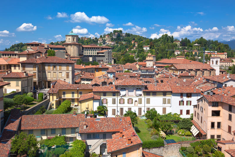 View of Bergamo Alta, Italy royalty free stock photo