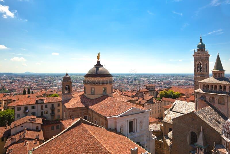 View of Bergamo Alta, Italy stock photography