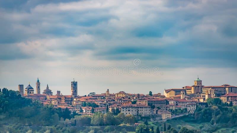View of Bergamo Alta. Town with walls stock photos
