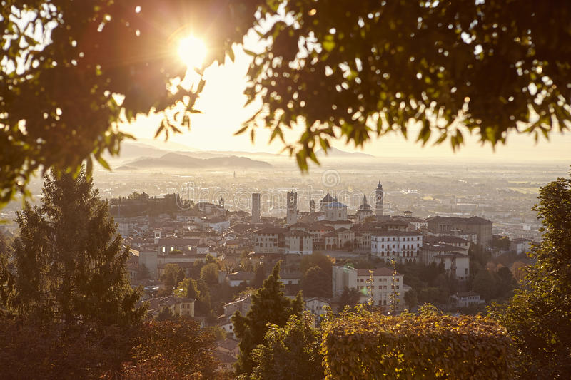 View of Bergamo. Dawn view of the historical part of the city royalty free stock images