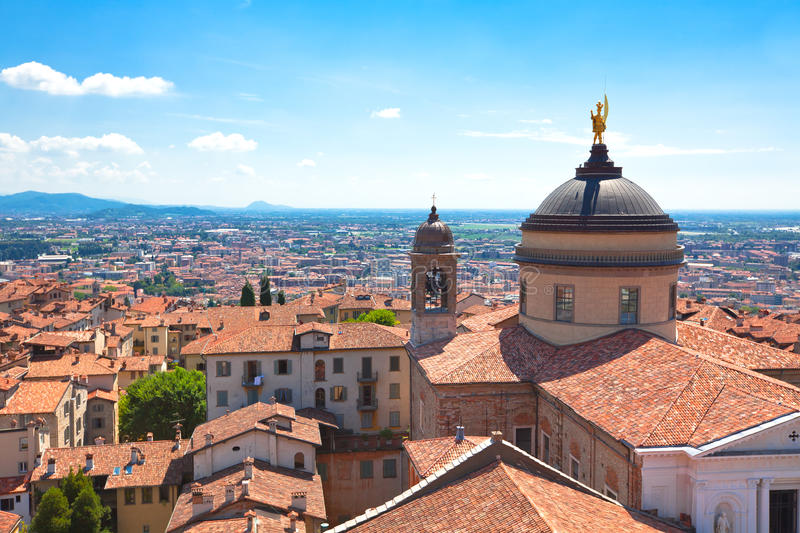 View of Bergamo, Italy. Roofs of the buildings in the city centre of Bergamo. Bright summer shot royalty free stock image