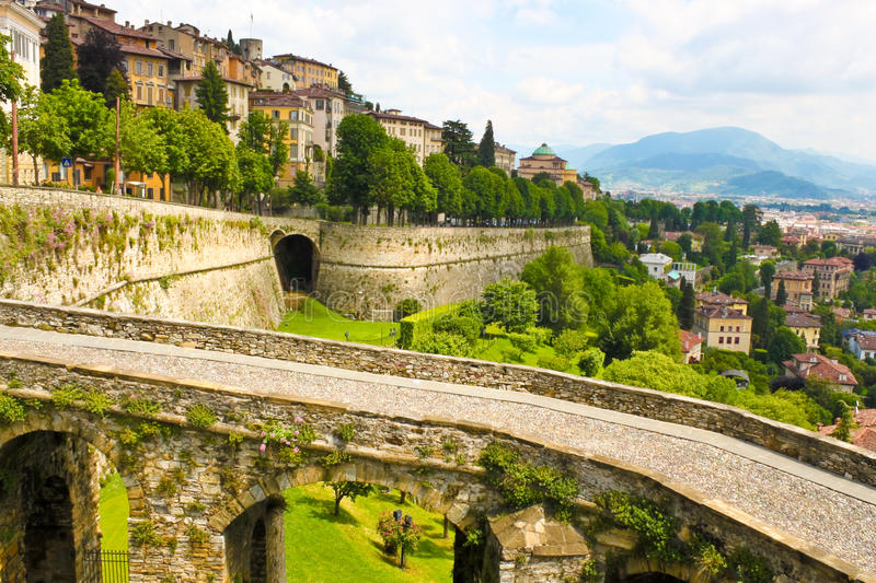 View of Bergamo, Italy. View of ancient italian town Bergamo royalty free stock photo