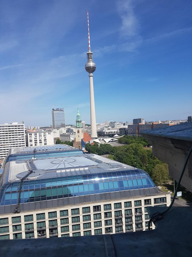 View of Berlin with Fernsehturm. View of Berlin with in the middel the fernehturm of Berlin stock image