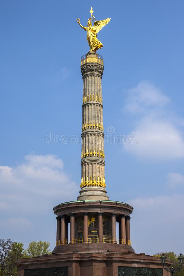 Berlin Victory Column. A view of the Berlin Victory Column, known in German as Siegessaule, located in the historic city of Berlin, Germany stock photos