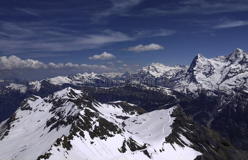 View of Bernese Swiss Alps taken from the Schilthorn stock image