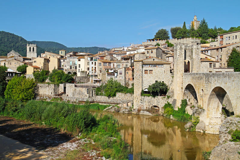 View of Besalu village Catalonia, Spain royalty free stock photography