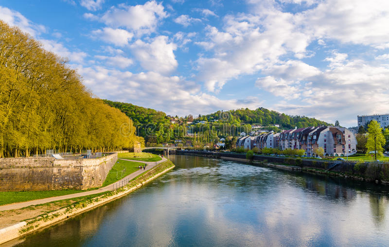 View of Besancon over the Doubs River. France stock image