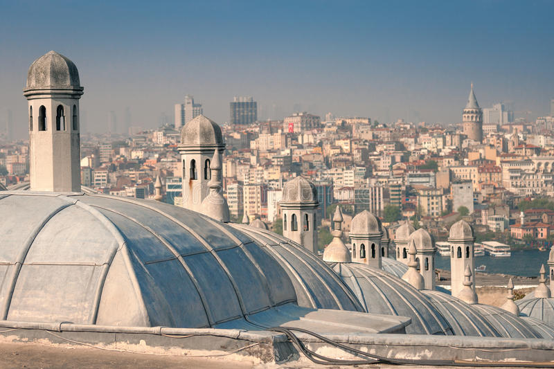 View of the Beyoglu district from the Suleymaniye Mosque royalty free stock photo