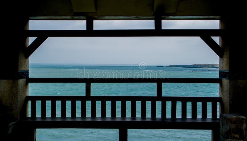 Ocean beyond the gazebo. A view beyond the gazebo stock photography
