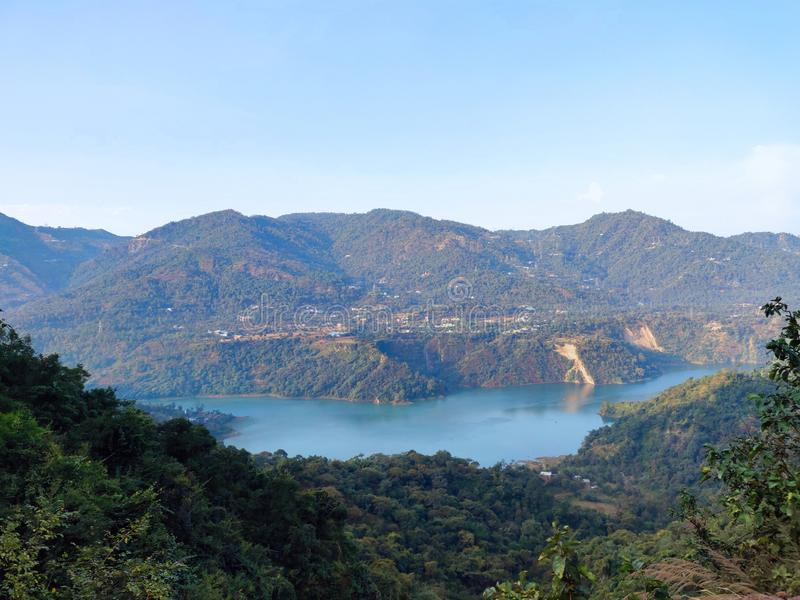 Kullu Bhakra nangal dam. A view of bhakra nangal dam from the the mountain heights of Kullu, Himachal Pradesh royalty free stock photos
