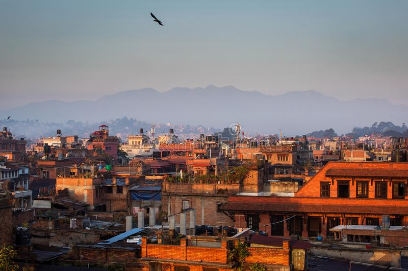 View of Bhaktapur, Nepal at sunrise with Himalaya mountains in b royalty free stock images
