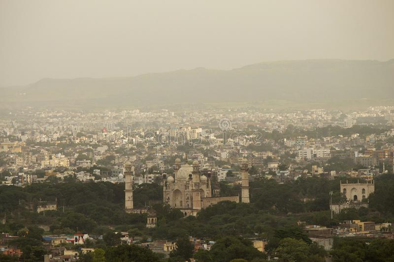 View of Bibi Ka Maqbara from mountain, Aurangabad, Maharashtra, India royalty free stock images