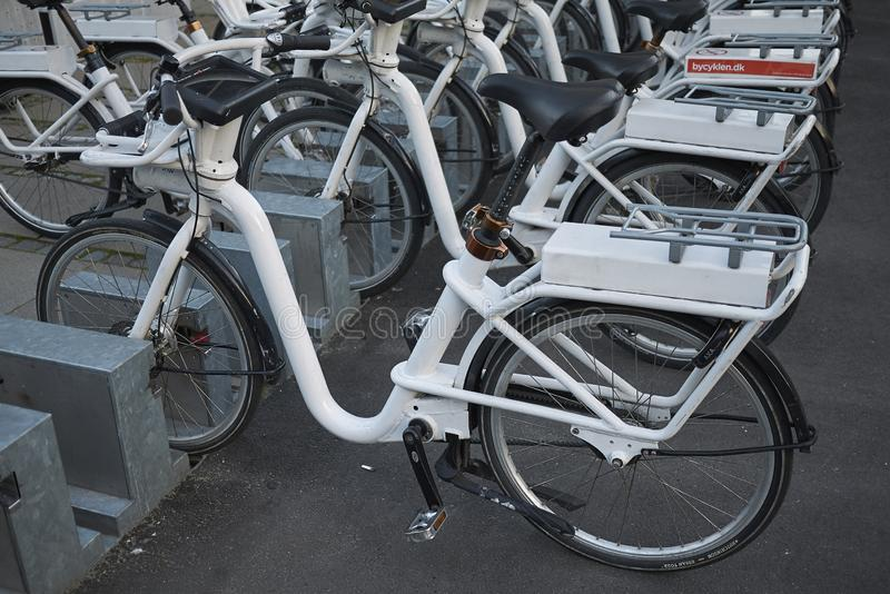View of a bicycle parking royalty free stock photography