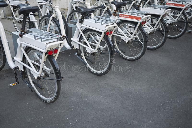 View of a bicycle parking stock photography