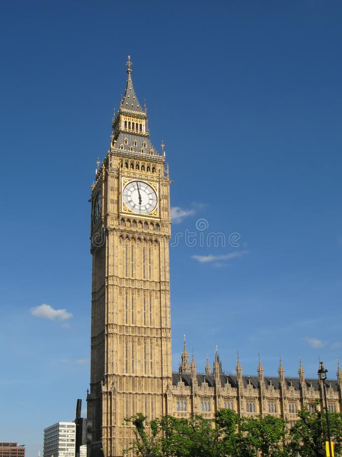 View of the Big Ben Clock Tower on sunny summer day in London, UK. stock photos