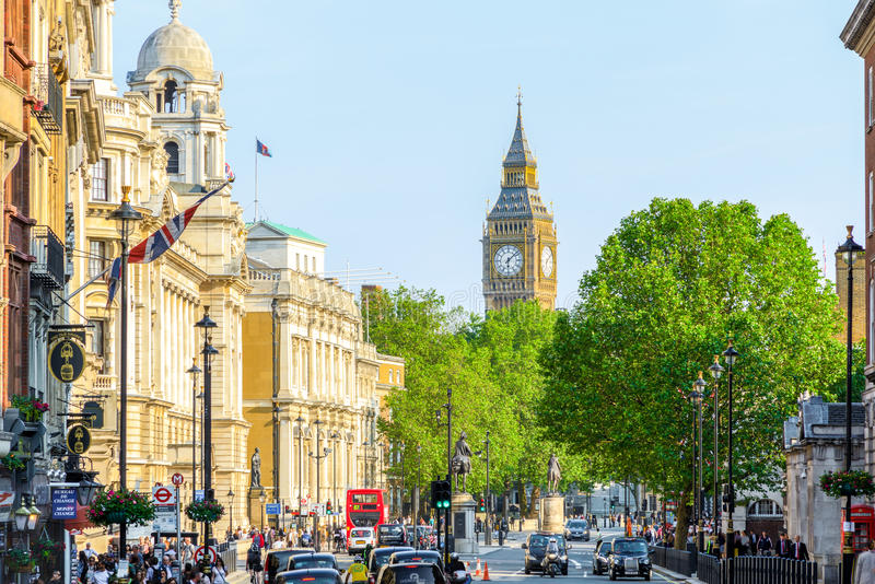 View of Big Ben from Trafalgar Square stock photography