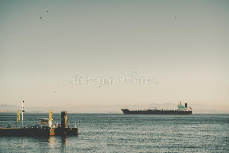 View of big cargo ship or barge stock images