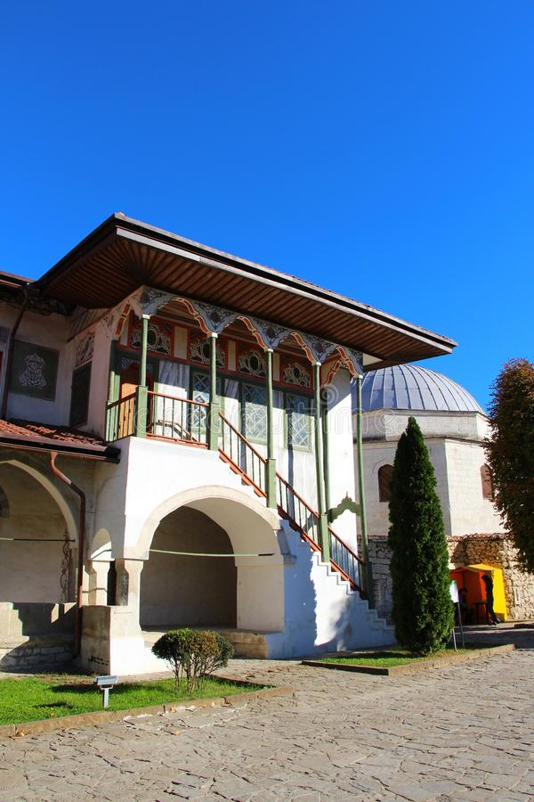Big Khan Mosque in Bakhchisaray Palace. View of the Big Khan Mosque in Bakhchisaray Palace, also known as The Khan`s Palace or Hansaray, on the Crimean Peninsula stock photo