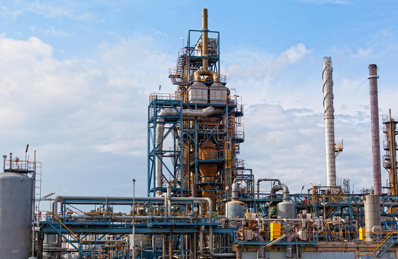 View of big oil refinery. Of a sky background royalty free stock photography