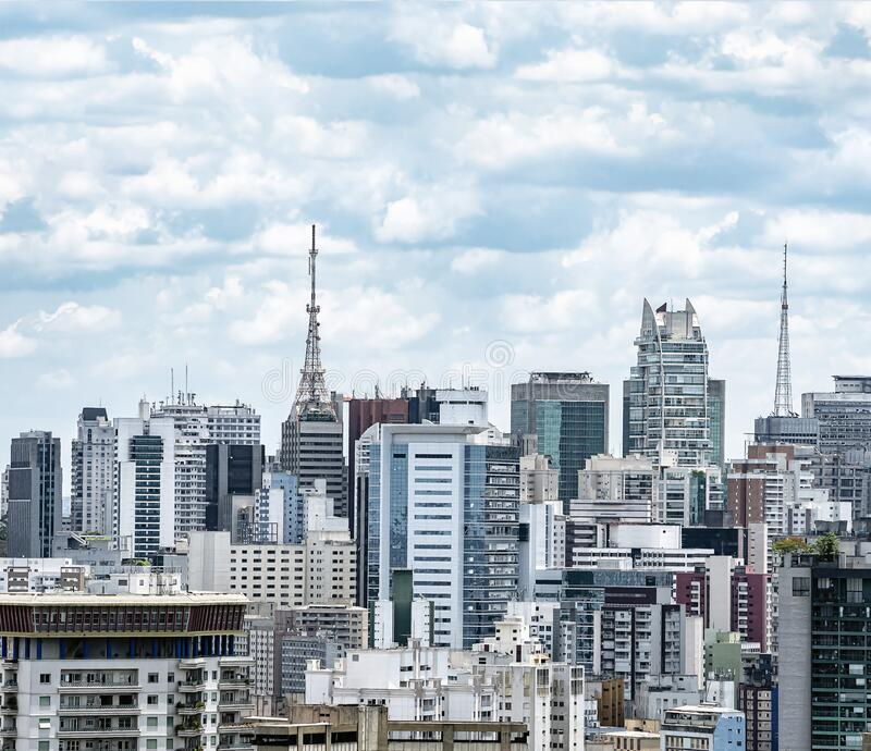 View of Bela Vista, Sao Paulo SP Brazil. View of a big populous city with tall high density buildings, antennas on top the buildings. Photo taken at Bela Vista royalty free stock photos