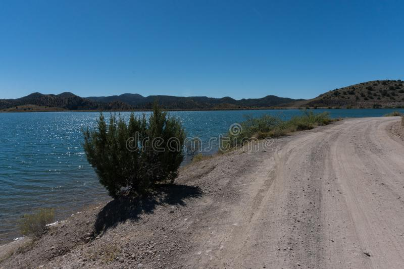 View of Bill Evans Lake roadway near Silver City in New Mexico. stock photos