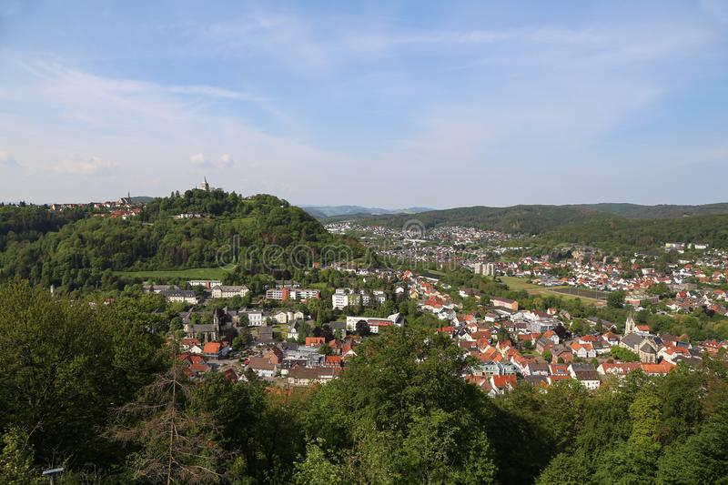 View from the Bilstein Tower to Marsberg, Germany. North Rhine-Westphalia, Sauerland, Marsberg stock image