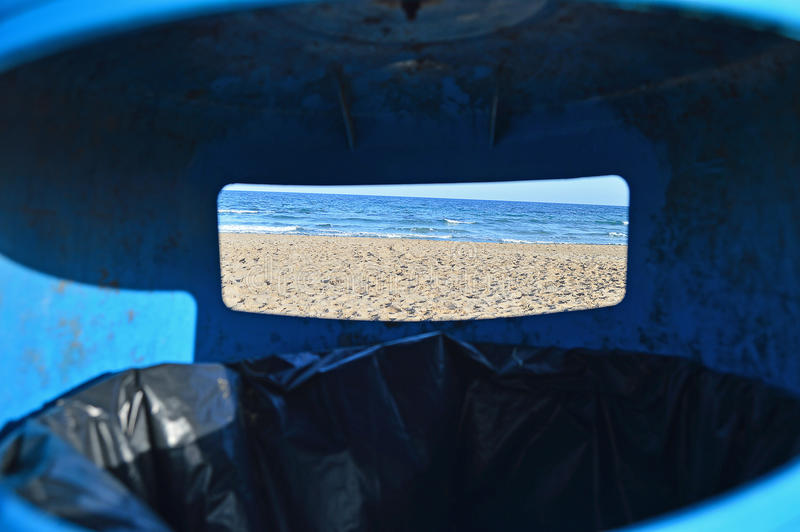 A View From A Bin - Unusual View Dustbin Beach royalty free stock image