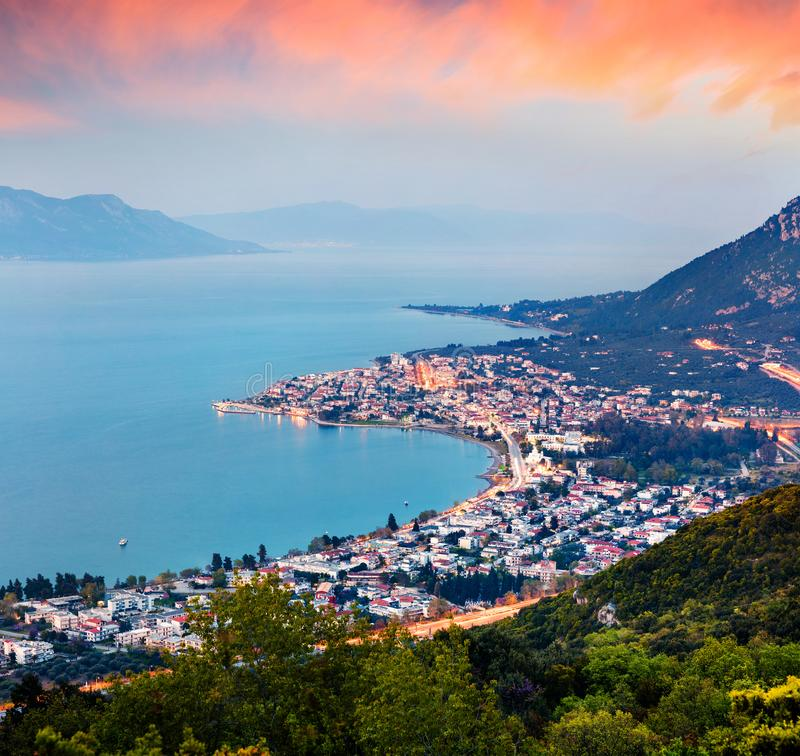 View from the bird`s-eye of Kamena Vourla town in the evening light. Colorful spring cityscape in Greece, Europe. View from the bird`s-eye of Kamena Vourla town royalty free stock images
