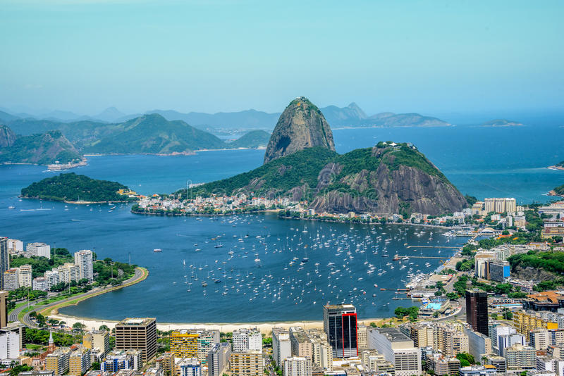 View from the bird`s eye view on the Sugarloaf mountain, Rio de royalty free stock image