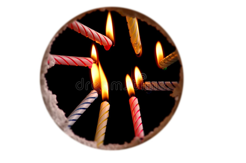 View from a birthday cake. Circle stock photos