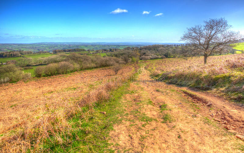 View from Black Down the highest hill in the Mendip Hills Somerset in colourful HDR. View from Black Down the highest hill in the Mendip Hills Somerset in south royalty free stock image