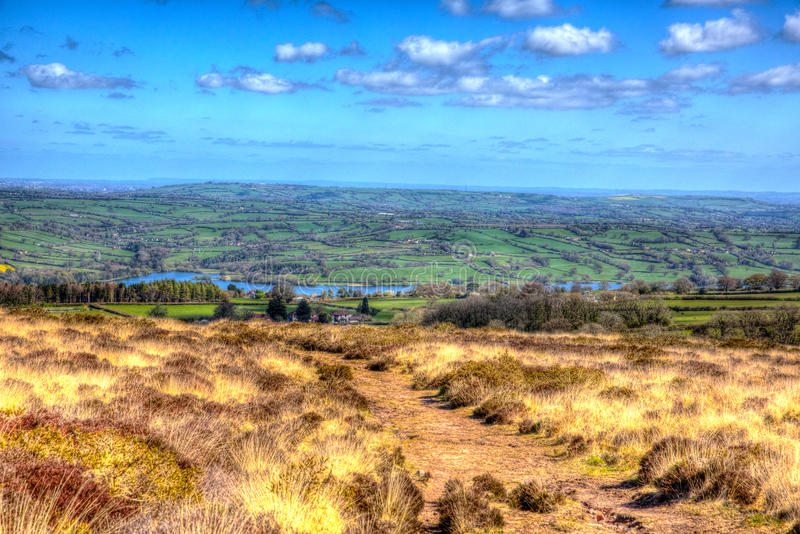 View from Black Down Mendip Hills Somerset towards Blagdon Lake in colourful HDR. View from Black Down the highest hill in the Mendip Hills Somerset in south royalty free stock images