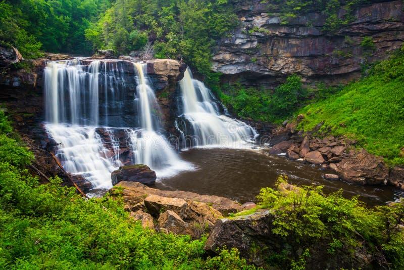 View of Blackwater Falls, at Blackwater Falls State Park, West V royalty free stock image