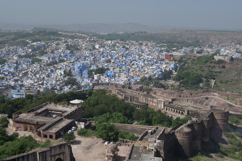 View of the Blue City from the Mehrangarh Fort stock photography