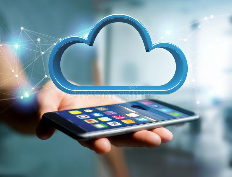 Blue cloud displayed on a futuristic interface - 3d rendering stock photography