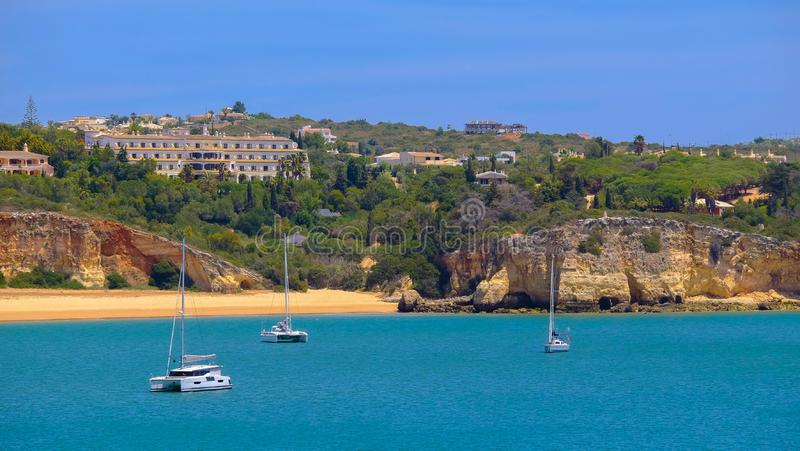 View on the blue lagoon with white yahts in Portimao, Argarve. Vacation in Portugal stock photos