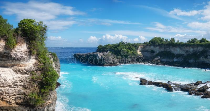 View on the blue lagune. Turquoise water background. Summer seascape from air. Rocks and azure sea water. Summer adventure. Travel - image stock photos