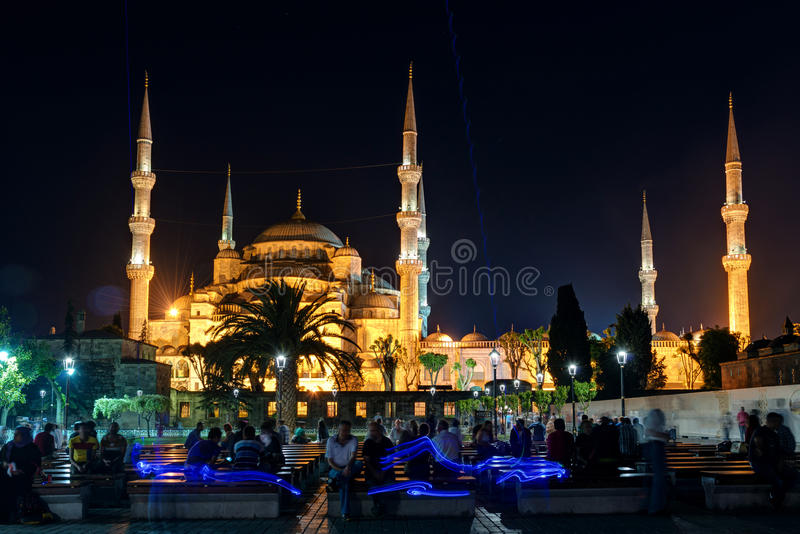 View of the Blue Mosque at night in Istanbul, Turkey. View of the Blue Mosque (Sultanahmet Camii) at night in Istanbul, Turkey stock images