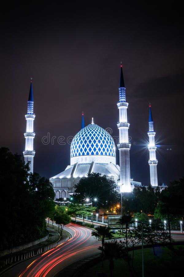 View of the Blue Mosque at night with light trail royalty free stock photos