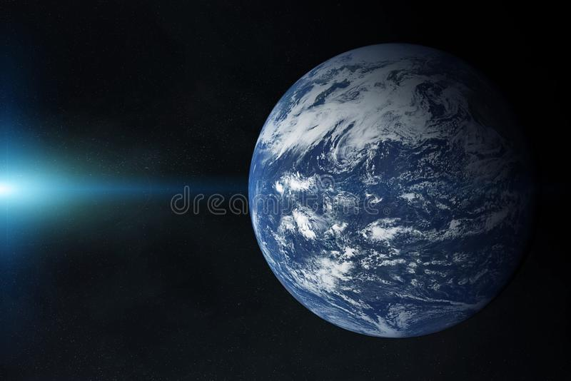 View of blue planet Earth Atlantic Ocean in space with her atmosphere 3D rendering elements of this image furnished by NASA. View of planet Earth Atlantic Ocean stock illustration