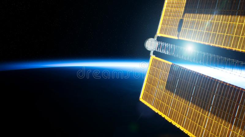 View of planet Earth horizon from a space station window during a sunrise 3D rendering elements of this image furnished by NASA. View of blue planet Earth stock illustration