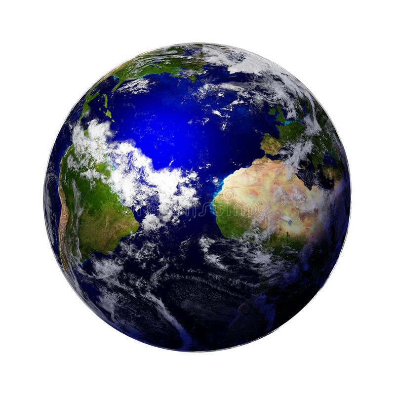 Planet Earth isolated on white background, part of the solar system royalty free stock photo