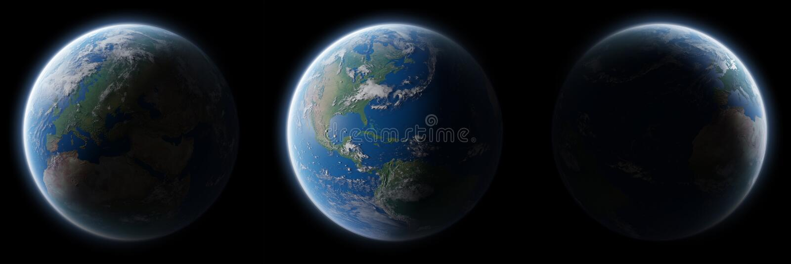View of blue planet Earth in space collection 3D rendering elements of this image furnished by NASA. View of blue planet Earth in space collection with her stock illustration