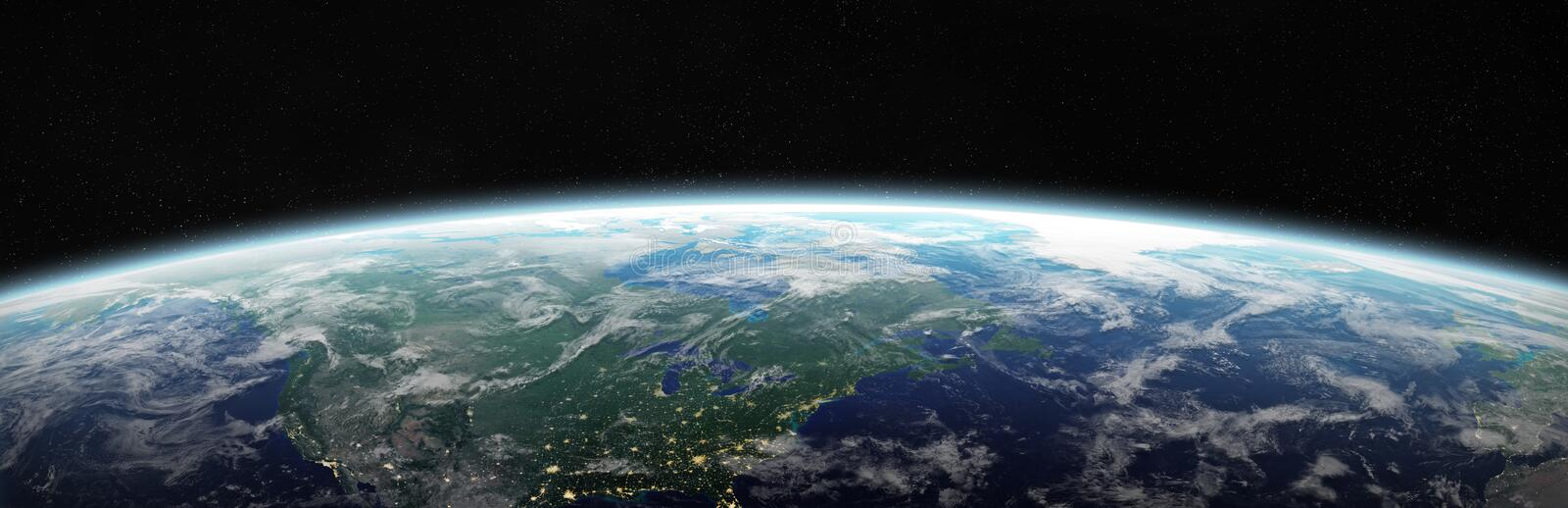 View of blue planet Earth in space 3D rendering elements of this image furnished by NASA stock illustration