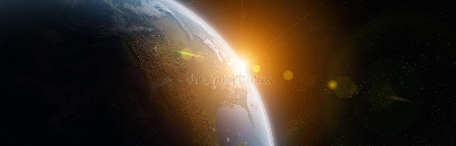 View of blue planet Earth in space 3D rendering elements of this image furnished by NASA royalty free illustration