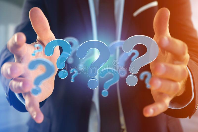 Blue question mark displayed on a futuristic interface - 3d rend. View of a Blue question mark displayed on a futuristic interface - 3d rendering royalty free stock photography