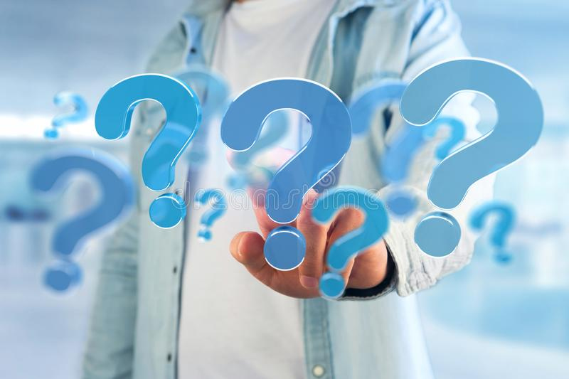 Blue question mark displayed on a futuristic interface - 3d rend. View of a Blue question mark displayed on a futuristic interface - 3d rendering stock images