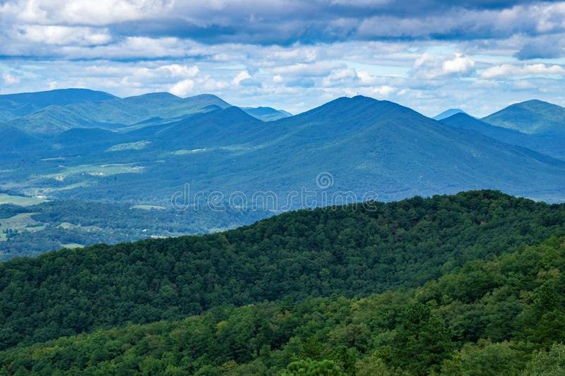 Beautiful Blue Ridge Mountains on a Cloudy day. A View of the Blue Ridge Mountains on a cloudy from the Blue Ridge Parkway, Virginia, USA stock image