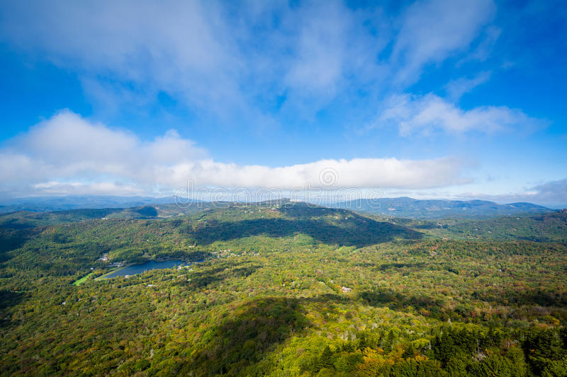 View of the Blue Ridge Mountains and Grandfather Lake from Grand royalty free stock image