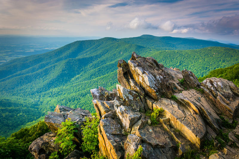 View of the Blue Ridge Mountains from Hawksbill Summit, in Shenandoah National Park, Virginia. stock photos